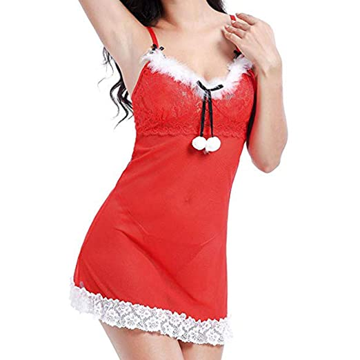 1d641b781da Dream Mimi Christmas Sexy Lace Lingerie Dress Babydoll Lingeries Women s  Lace Sexy Lingerie Sling Pajamas at Amazon Women s Clothing store