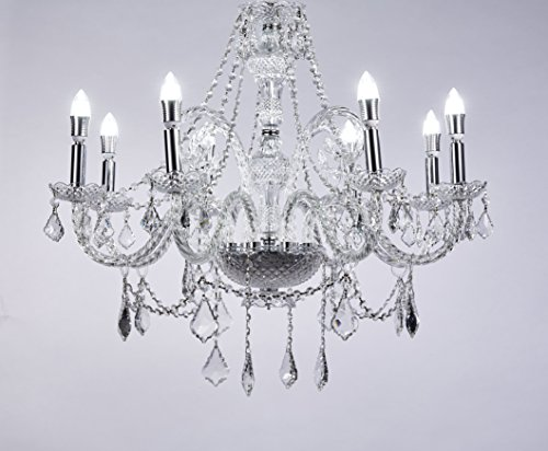 New Galaxy 8-Light Chrome Finish Crystal Chandelier Pendant Ceiling Light Clear European Crystal, 28″ Wide
