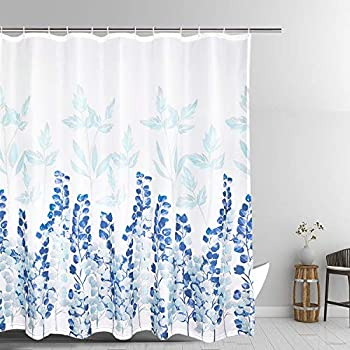 Bathroom Shower Curtain Japanese Style Flowers Waterproof Blue Durable Oxford Fabric Bath