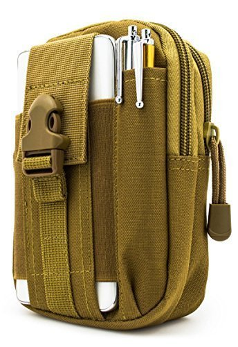 Bastex Universal Multipurpose Tactical Cover Smartphone Tan Holster EDC Security Pack Carry Case Pouch Belt Waist Bag Gadget Money Pocket for iPhone 6s Samsung Galaxy S7 Note5 LG G5 iPhone 7