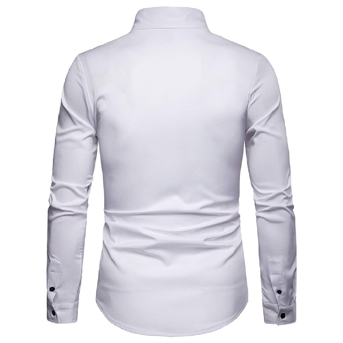 Highisa Mens Fashion Bussiness Long-Sleeve Trim-Fit Turn Down Collar Buttons Shirt