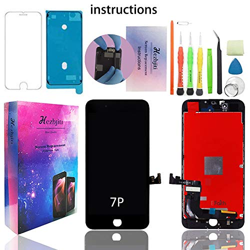 Replacement Waterproof - Hezbjiti Screen Replacement Compatible for iPhone 7 Plus Glass Display 3D Touch with Repair Tools Kit Screws and Protector Waterproof Repair Adhensive LCD Display Digitizer Assembly Black
