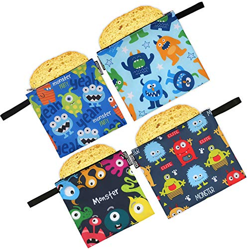 - CHAUDER Reusable Snack & Sandwich Bags - Set of 4 – Eco Friendly, FDA Certified, Dishwasher Safe, Easy to Clean & Quick Drying - Smooth Open Zipper - For Kids To School (Monsters)
