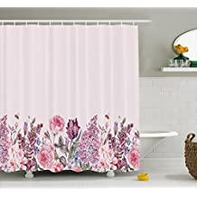 Mauve Shower Curtain by Lunarable, Vintage Watercolor Bouquet of Colorful Spring Garden Flowers Romantic Arrangement, Fabric Bathroom Decor Set with Hooks, 84 Inches Extra Long, Multicolor