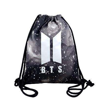 6c1aea4dfe77 Rainlemon Kpop BTS Bangtan Boys Drawstring Bags Galaxy BTS New Logo Love  Yourself Backpack Shoulder Bag