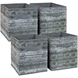 great rustic wood bookcases Sorbus Foldable Storage Cube Basket Bin, Rustic Wood Grain Print, 4-Pack (Rustic Bin - Gray)