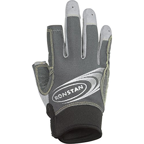 Ronstan Sticky Race Gloves with 3 Full and 2 Cut Fingers - Grey