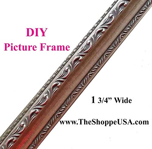 Clearance Special 18' Imported Silver Leaf Ornate Solid Wood Picture Frame Moulding