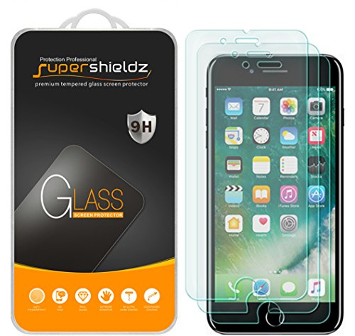 [3-Pack] Supershieldz for Apple iPhone 8 / iPhone 7 Tempered Glass Screen Protector, Anti-Scratch, Anti-Fingerprint, Bubble Free, Lifetime Replacement Warranty