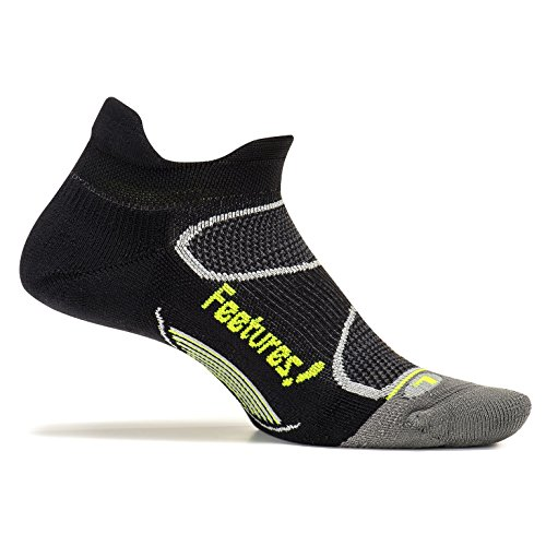 Feetures! - Elite Light Cushion - No Show Tab - Black/Reflector - Size Small - Athletic Running Socks