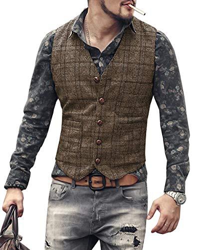 Chaleco de traje vintage para hombre de tela escocesa Tweed Slim Fit Chaleco para los padrinos de boda