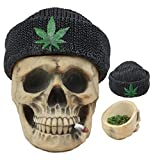 Ebros Got Weed? Day of The Dead Ossuary Smoking Human Skull with Cannabis Weed Leaf Beanie Hat Ashtray Jewelry Box Figurine Skeleton Cranium Trinket Stash Box Statue 6.5' Long Or As Cigarette Ashtray