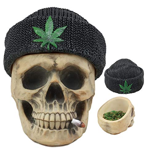 "Ebros Got Weed? Day of The Dead Ossuary Smoking Human Skull with Cannabis Weed Leaf Beanie Hat Ashtray Jewelry Box Figurine Skeleton Cranium Trinket Stash Box Statue 6.5"" Long Or As Cigarette Ashtray"