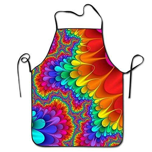 LIHAI Tie Dye Fun For Adult Kitchen Apron Easy Resists Bib Aprons