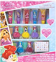 Townley Girl Disney Princess Super Sparkly Cosmetic Set with lip gloss, nail polish and nail stickers, 11 CT