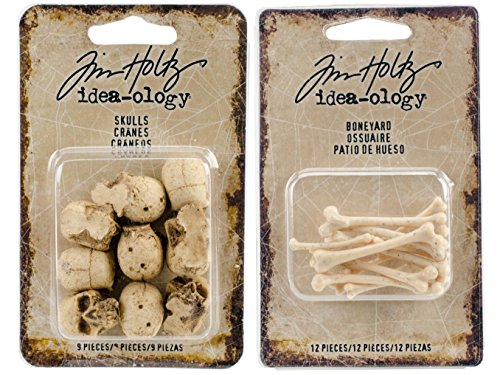 Tim Holtz 2017 Halloween - Skulls and Boneyard - 21 Miniature Resin Pieces ()