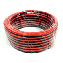 Speaker Wire Cable 25ft (7.6M) Large 10 AWG Gauge in roll Black and Red Fire Retardant CCA