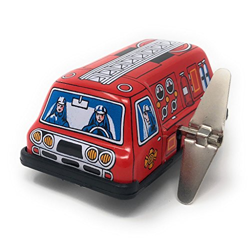 (Burekiya Vintage Retro Tin Wind-up Toy - Automobiles (Fire Truck))