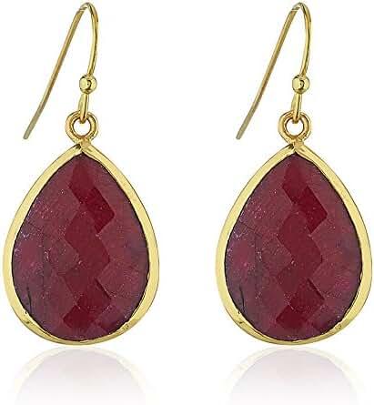 18K Gold-Plated Rims Pear Shape Gemstone Dangle Earrings