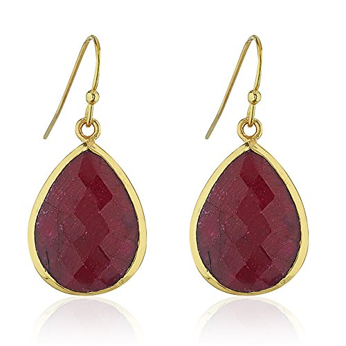 18K Gold-Plated Rims Pear Shape Red Simulated Ruby Gemstone Dangle Earrings