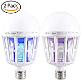 2 Pack Mosquito Killer Lamp,Bug Zapper Light Bulb,Electronic Insect Killer,Fly Killer,Insect Trap 110V E26/E27 Light Bulb Socket Base for Home Indoor Outdoor Garden Patio Backyard