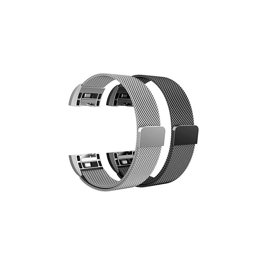 SWEES Metal Bands Compatible Fitbit Charge 2, 2 Pack Milanese Stainless Steel Metal Replacement Accessories Small Large Women Men, Silver, Black, Rose Gold, Colorful, Space Grey, Champagne