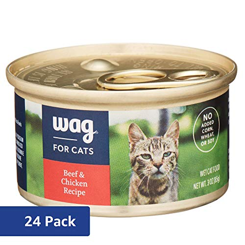 Amazon Brand - Wag Wet Cat Food, Beef & Chicken Recipe, 3 oz Can (Pack of 24)