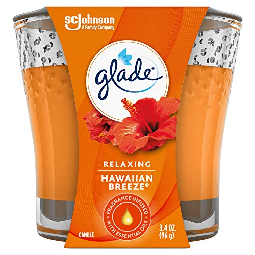 Glade Jar Candle Hawaiian Breeze, Quickly Fills Rooms With Essential Oil Infused Fragrance, 3.4 oz