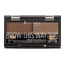 Rimmel Brow This Way Sculpting Kit, Medium Brown, Powder 0.04 oz., Wax 0.03 Oz, Brow Sculpting & Styling Kit with Eyebrow Wax & Setting Powder