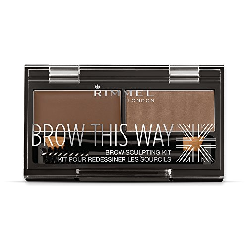 Rimmel Brow This Way Sculpting Kit, Medium Brown, Powder 0.04 Ounce, Wax 0.03 Ounce
