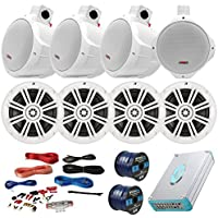 Speaker Package Of 4 Kicker 41KM604W White 6.5 Boat Coaxial Speaker + 4 White Pyle PLMRW85 8 Marine Wake board Speakers + Lanzar 4800w Amplifier With Installation Kit + Enrock 100ft Speaker Wire