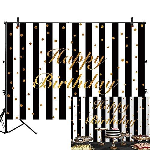 Allenjoy 7x5ft Polyester White Black Stripe Happy Birthday Party Decoration Photography Backdrop Studio Props Glitter Gold Golden Custumized Background Photo Booth