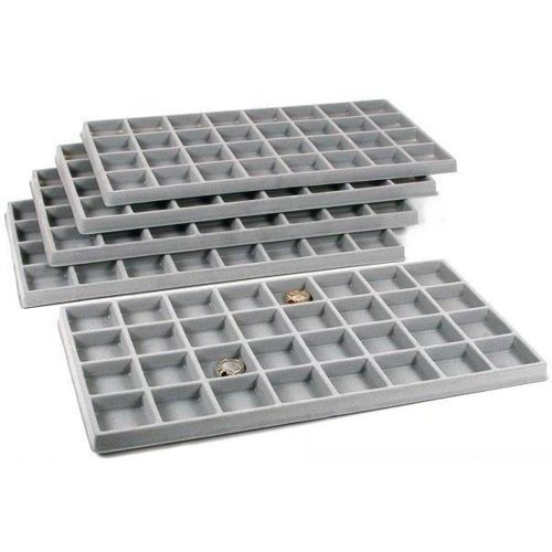 FindingKing 5 Gray 32 Slot Coin Jewelry Showcase Display Tray Inserts