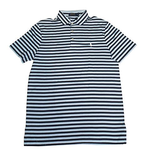 Polo Ralph Lauren Men's Classic Fit Pony Logo Striped Polo Shirt (Navy Blue/Blue/White, ()