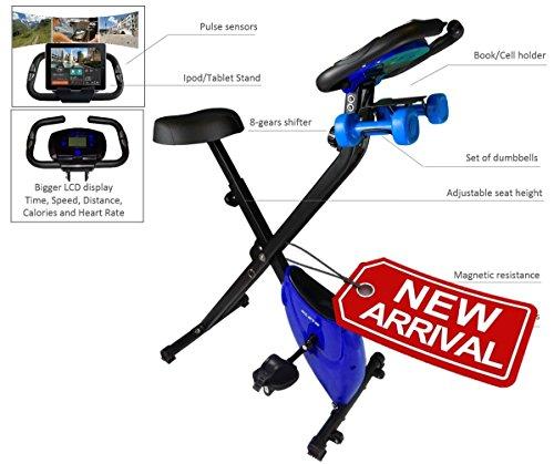 Kleta Bikes Cross Trainer Folding Magnetic Exercise Bike with Dumbbells