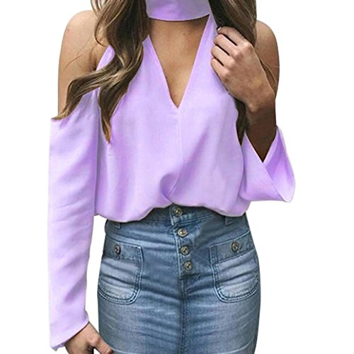Gillberry Women's Cold Shoulder T Shirts V Neck Halter Casual Long Sleeve Tops (Purple, XL)