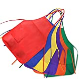 Kuuqa Kids Aprons, Children Painting Aprons Kids Art Smocks for Kitchen and Classroom 12 Pack 6 Colour - Painting Supplies (Painting Brush not Included)