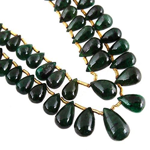 Be You 66.49cts vert émeraude pierre naturelle brésilienne 56 pièces déchirure sombre plaine gouttes perles 2 lignes brin