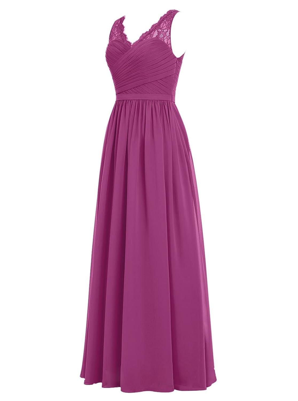 DRESSTELLS Long Bridesmaid Dress V-Neck Chiffon Prom Dress Lace ...