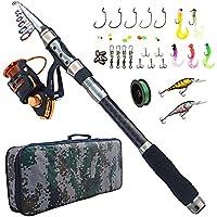 AGOOL Fishing Rod and Reel Combo Carbon Fiber Telescopic...