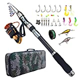 Fishing Rod and Reel Combo Carbon Fiber Telescopic Spinning Portable Fishing Pole Fishing Gear with Line Lure Hooks Fishing Bag for Sea Saltwater Freshwater Boat Fishing Review