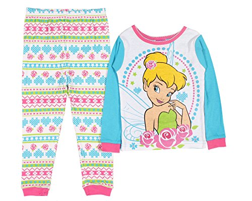 Disney Little Girls' Tinkerbell Roses 2 Piece Long Sleeve Pajamas (18M)