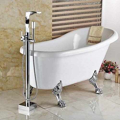 ZT-TTHG 蛇口クリエイティブフロアマウントシングルハンドルの浴室のバスタブ蛇口セット自立真鍮クローム浴槽のミキサーのタップ、クリア