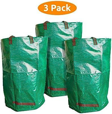 ANSIO Bolsas de residuos de jardín, Sacos de Hoja de jardín de 60L - Paquete de 3, Bolsas Reutilizables de jardín con manijas, Ideal para la recolección de residuos de jardín.: Amazon.es: