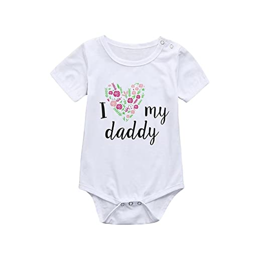 3e53202b7e903 Amazon.com: Kehen Newborn Infant Baby Girl Boy Summer Clothes Cotton Home  Wear Casual Outfit Short Sleeve Romper I Love My Daddy: Clothing