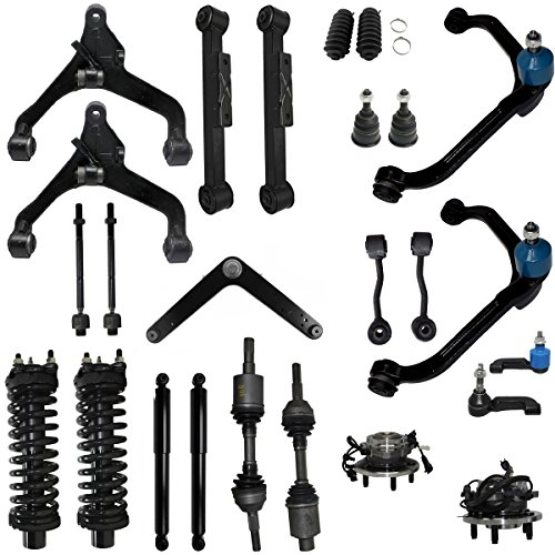 Detroit Axle - 25pc -For 2002 2003 2004 Jeep Liberty Rebuild Kit- Front Axles, Struts, (4) Control Arms, Wheel Bearings w/ABS, Tie Rods, Ball Joints, Sway bars - Rear Control Arms, Shocks ()