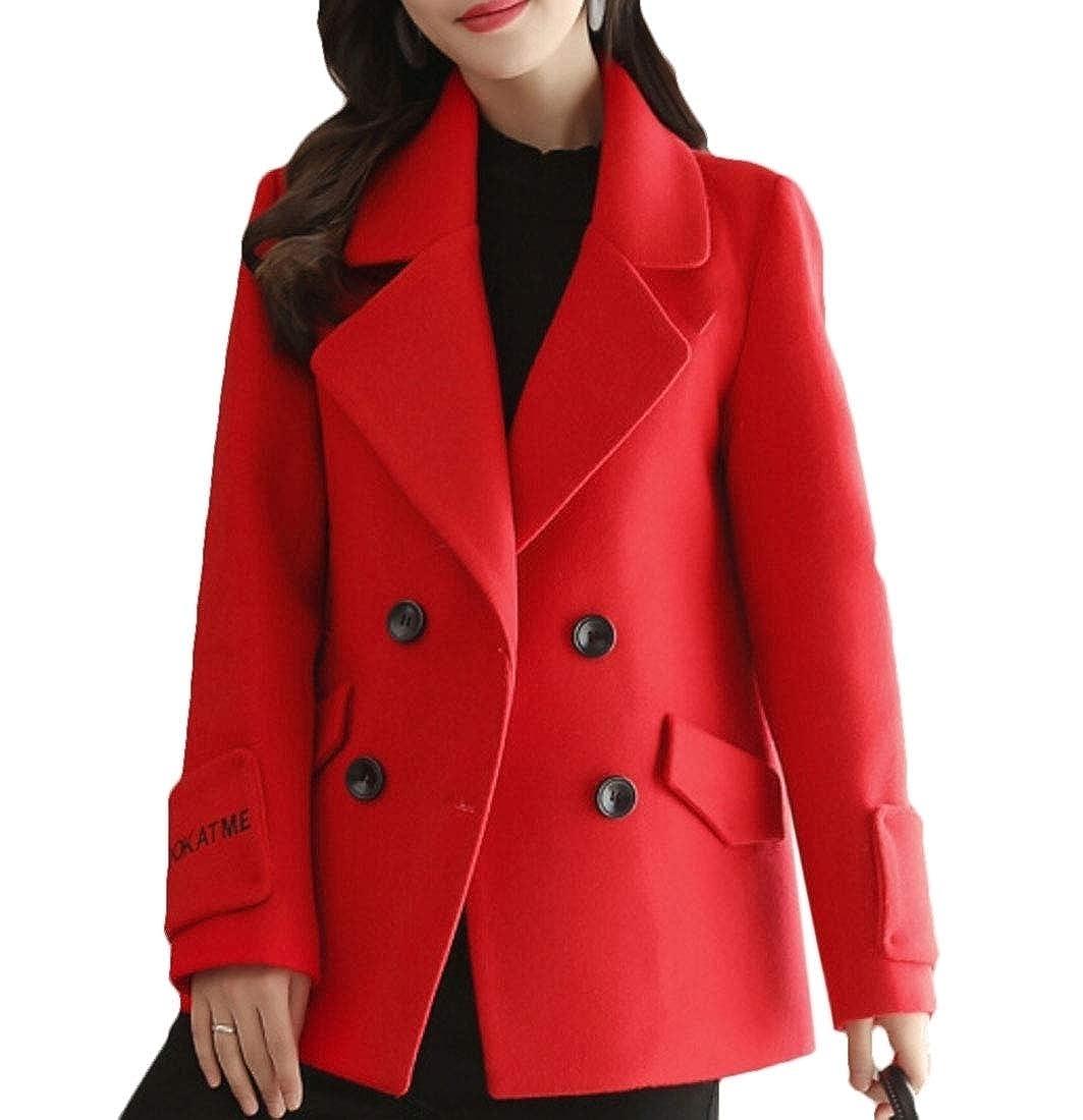 3 Keaac Women Wool Blend Coat Double Breasted Outerwear Winter Warm Trench Jacket