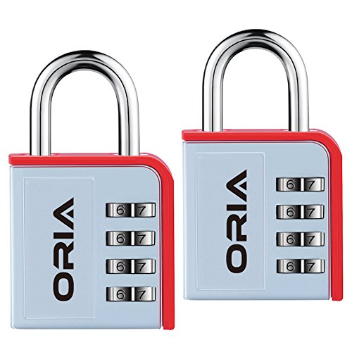 ORIA Combination Lock, 4 Digit Padlock, Gym or Travel Lock, with Water Proof & Plated Steel Material Design for School, Travel Baggage, Case, Sport Locker, Toolbox, Storage (Set of 2 Pack, Silver/Red)