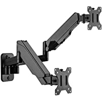 """Brateck Dual Monitor Wall Mounted Gas Spring Monitor Arm 17""""-32"""",Weight Capacity (per Screen) 8kg"""