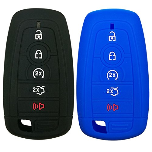 Coolbestda 2Pcs Silicone Smart Key Fob Skin Cover Protector Keyless Jacket Remote Holder for 2017 Ford Fusion F250 F350 F450 F550 2018 Edge Explorer 5buttons Smart Key